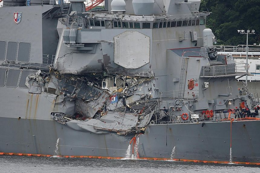 The USS Fitzgerald, after colliding with a Philippine-flagged merchant vessel, at the US naval base in Yokosuka, Japan, in June. Contrite navy officials have conceded that they accepted increasing risks with uncertified ships and crews, despite repea