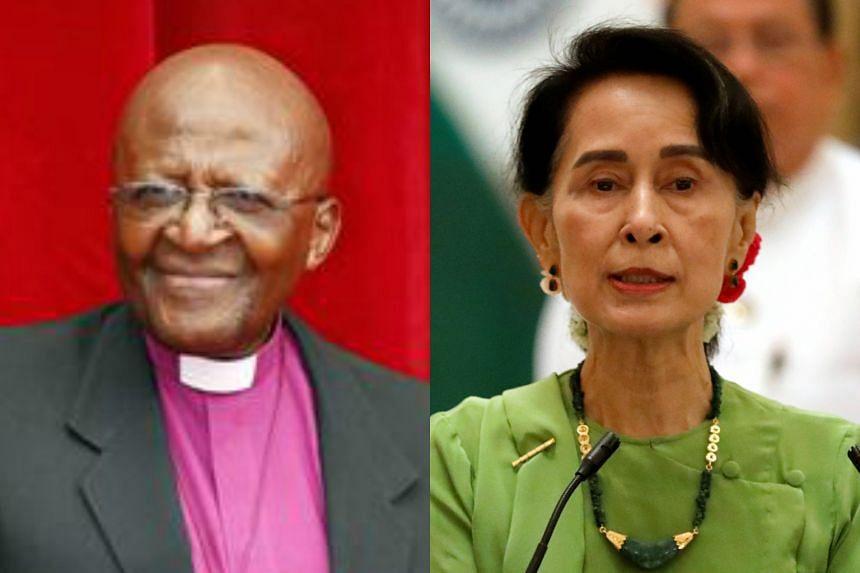 South African Archbishop  Desmond Tutu (left) has urged Myanmar leader and fellow Nobel laureate Aung San Suu Kyi to help Rohingya Muslims.