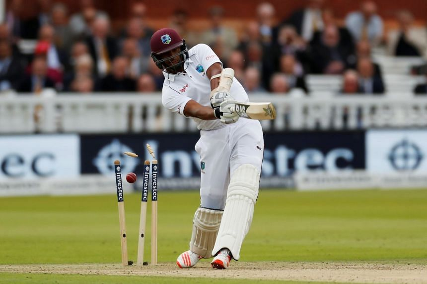 West Indies' Shannon Gabriel is bowled by England's Ben Stokes on Sept 7, 2017.