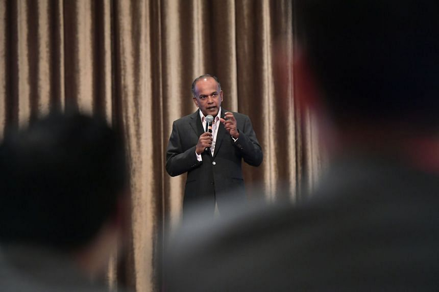 Home Affairs and Law Minister K. Shanmugam speaking at an Institute of Policy Studies forum on the reserved election. He cited evidence that race is still a factor when Singaporeans vote, making it harder for minority candidates to be elected preside
