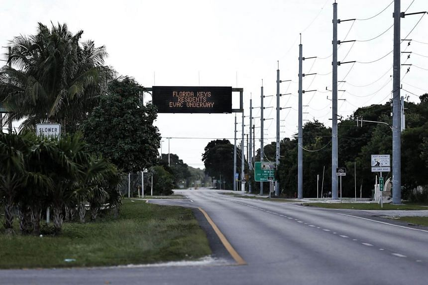 The roads are empty after most residents have already evacuated as Hurricane Irma heads towards the the Florida Keys in Key Largo, Florida on Sept 8, 2017.