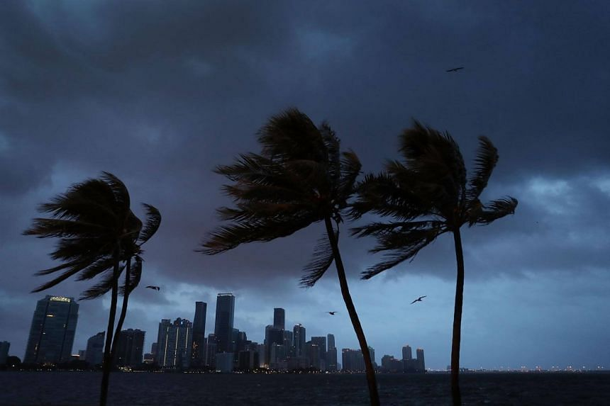 The skyline is seen as the outerbands of Hurricane Irma start to reach Florida on Sept 9, 2017 in Miami, Florida.