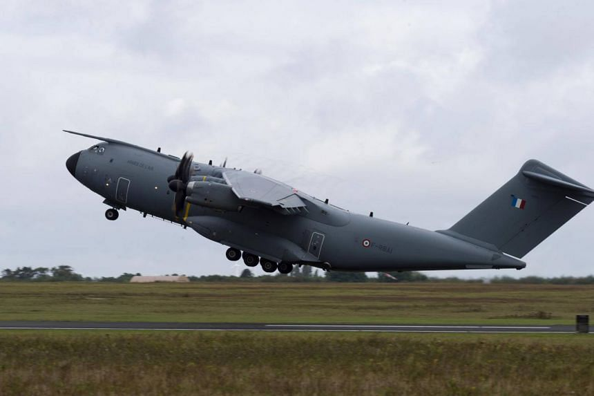 A F-RBAI French Air Force Airbus A400M military transport plane loaded with military equipment leaving from Orleans, central France, for regional support ahead of Hurricane Jose and following Hurricane Irma.