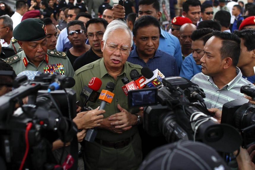 Malaysia Prime Minister Najib Razak speaks to press during the preparation of a humanitarian mission at military base in Subang, Malaysia, on Sept 9, 2017.