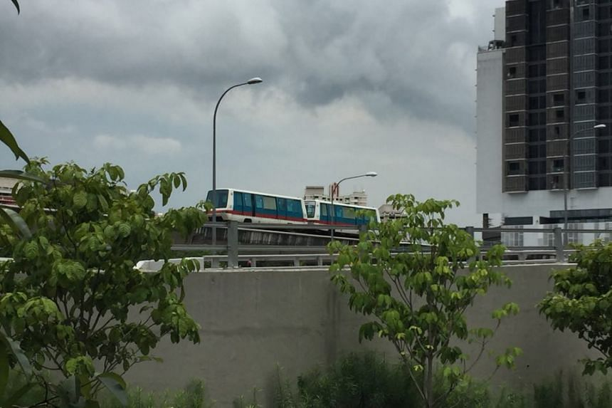 ST reader Ronnie Goh took this photo of an LRT train stalled near Ten Mile Junction around 12.15pm.