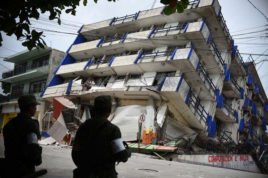The damaged hotel Ane Centro after a 8.2 magnitude earthquake in Matias Romero, Oaxaca, Mexico, on Sept 8, 2017.