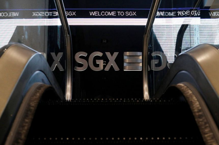 An SGX sign is pictured at Singapore Stock Exchange on July 19, 2017.