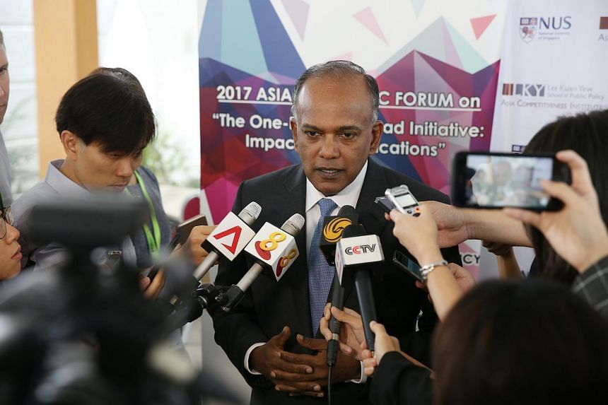 Mr K Shanmugam, Minister for Home Affairs and Minister for Law, speaks at the 2017 Asia Economic Forum held at Lee Kuan Yew School of Public Policy on Mon on Aug 28, 2017.