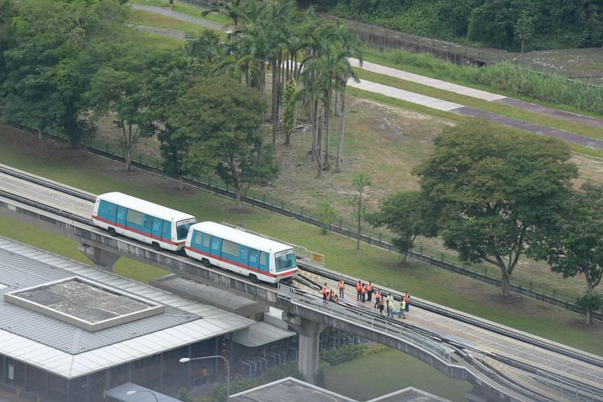 The stalled train on the Bukit Panjang LRT line.