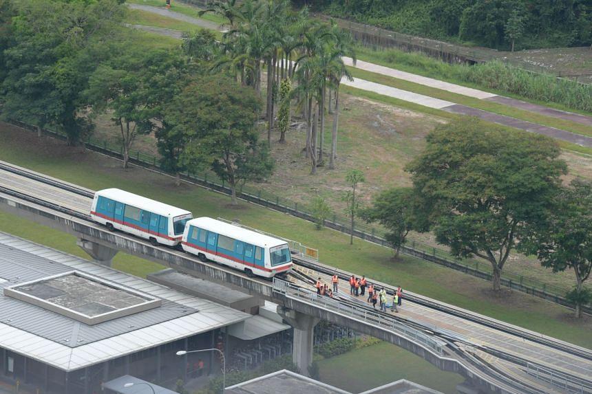 The stalled train on the Bukit Panjang LRT line.