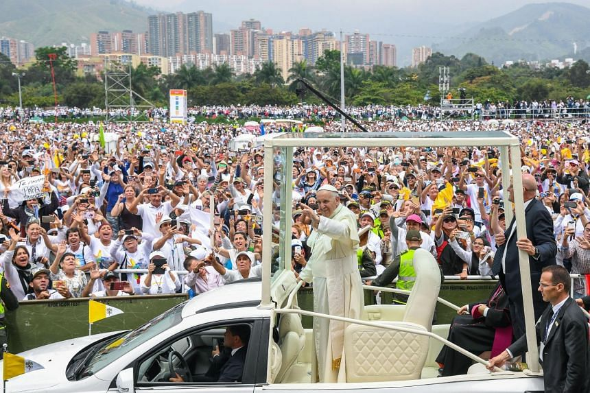 Pope Francis arrives to officiate at the mass in Medellin.