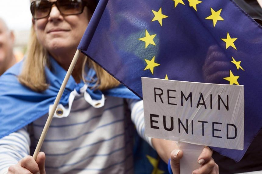 Pro-EU demonstrators gather in Parliament Square in Central London, Britain, on Sept 9, 2017.