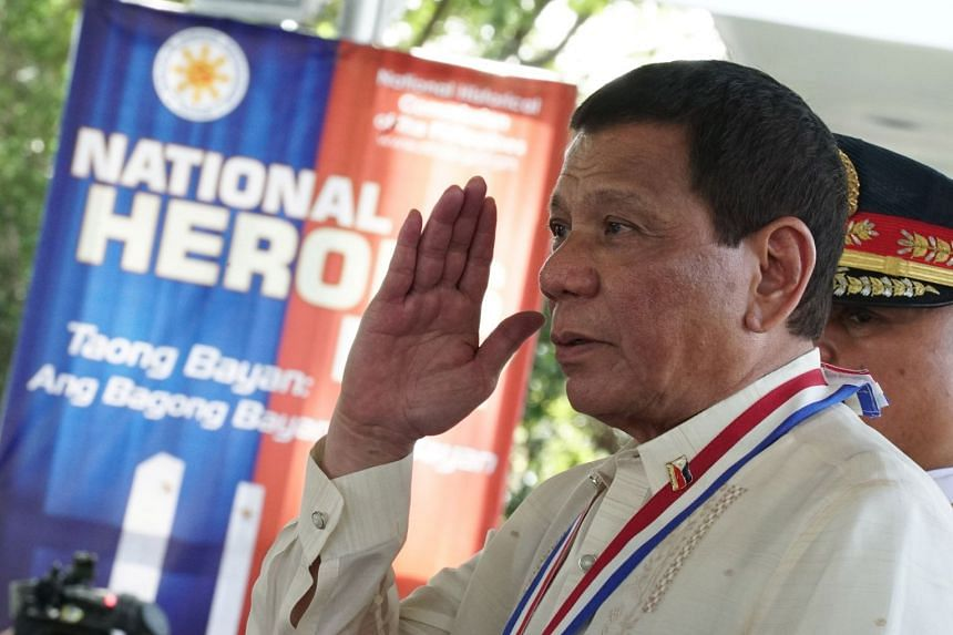 Duterte salutes upon arrival at the National Heroes Day Commemoration, Aug 28, 2017.