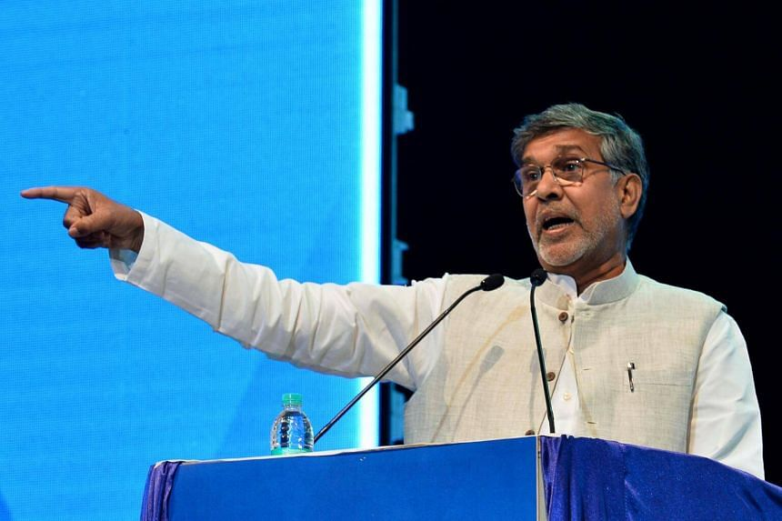 Nobel Laureate and human rights activist Kailash Satyarthi speaks during the inaugural event of the Dr B.R. Ambedkar International Conference 2017, in Bangalore, on July 21, 2017.