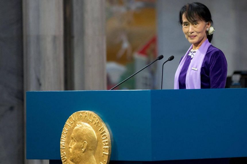 Myanmar leader Aung Suu Kyi received the Nobel Peace Prize in 1991 when she was under house arrest for going against the regime of Myanmar s military junta in her fight for democracy and human rights in her country.