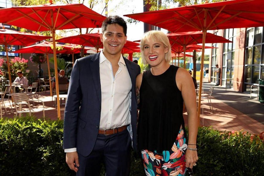 Olympic champion Joseph Schooling with American tennis player Bethanie Mattek-Sands, one of those who qualified for the BNP Paribas WTA Finals Singapore presented by SC Global in Singapore last year.