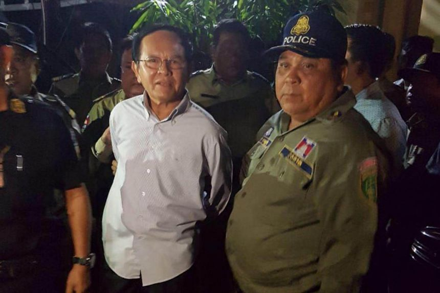 Cambodia's opposition leader Kem Sokha, 64, is detained during a police ride at his home in Phnom Penh, Cambodia, on Sept 3, 2017.