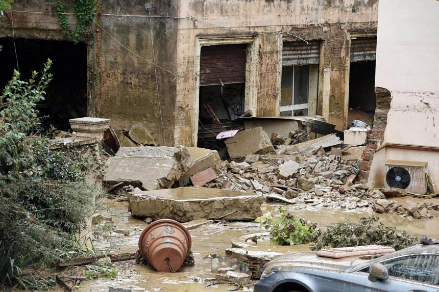 A general view on the house in which's flooded basement five bodies were found in Livorno, Italy, on Sept 10, 2017.