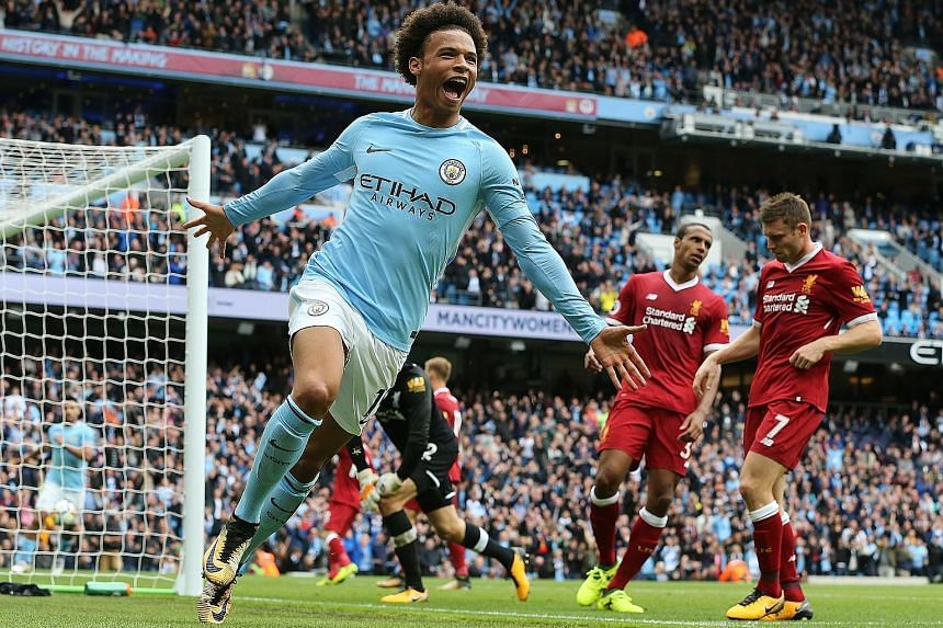 Manchester City's Leroy Sane celebrating his 77th-minute goal after coming on as a second-half substitute. The fleet-footed German winger scored a brace, the second being an absolute peach.