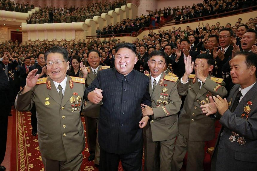 North Korean leader Kim Jong Un attends an art performance dedicated to nuclear scientists and technicians, in an undated photo released by news agency KCNA on Sept 10, 2017.