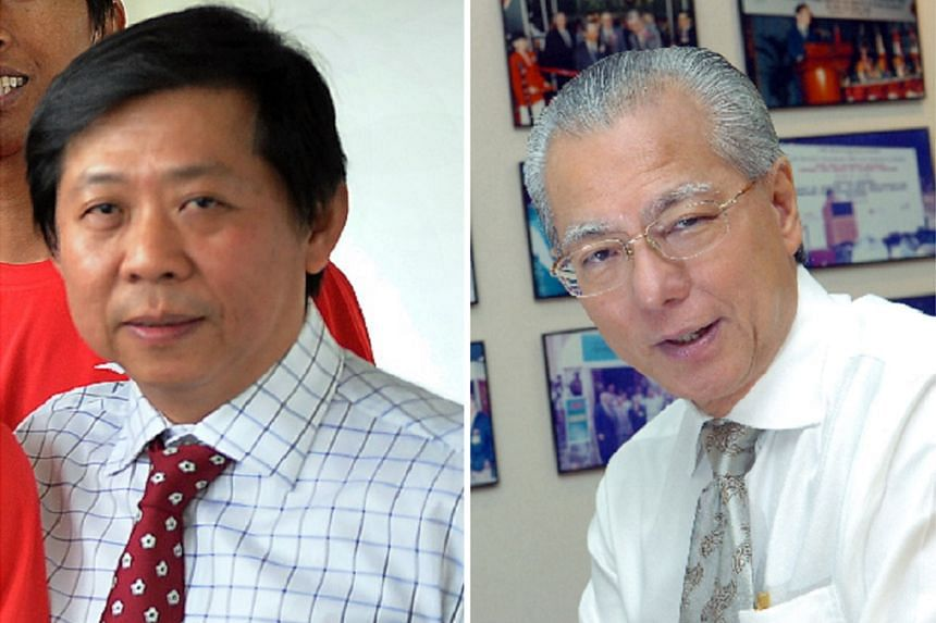 John Yap (left), chairman of Gombak United, says he is still keen on returning but his Tanjong Pagar United counterpart, Edward Liu, said his team will not be able to return next year.