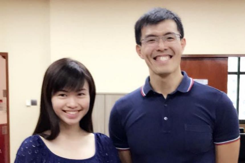 MP Tin Pei Ling (left) with Mr Alvin Ho, who brought the elderly man to a clinic after learning that he felt unwell.