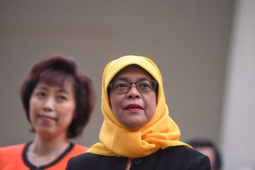 Madam Halimah Yacob emerges from the Elections Department on Sept 11, 2017.