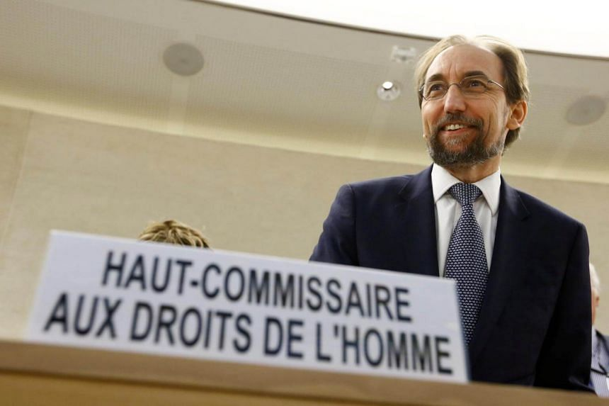 Zeid Ra'ad Al Hussein, UN High Commissioner for Human Rights arrives at the 36th Session of the Human Rights Council at the United Nations in Geneva, Switzerland, on Sept 11, 2017.
