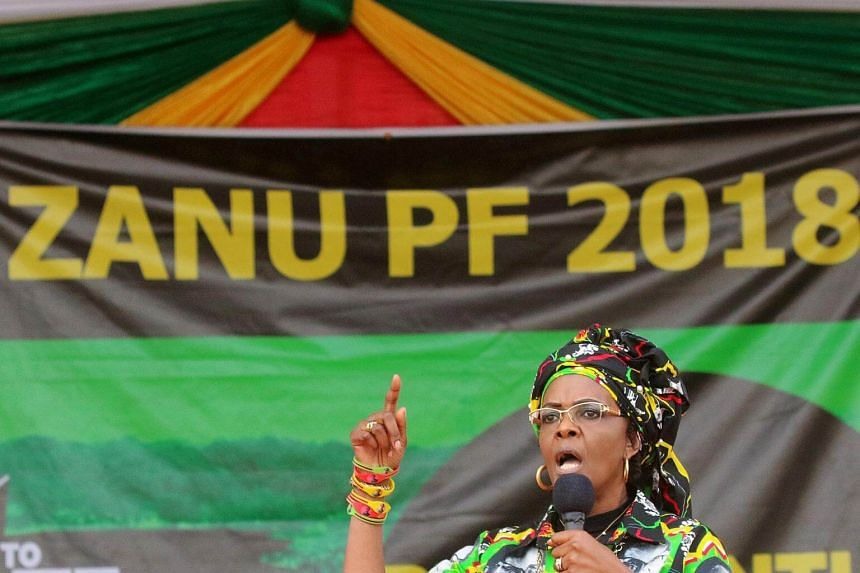 President Robert Mugabe's wife Grace addresses a rally of the ruling Zanu (PF) in Chinhoyi, Zimbabwe, on July 29, 2017.
