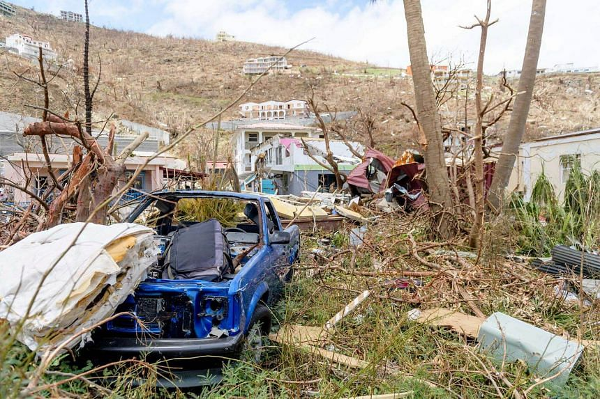 Buildings damaged by hurricane Irma are seen on the British Virgin Islands, on Sept 10, 2017.