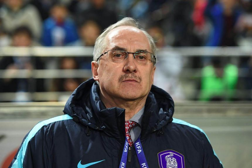 South Korea's head coach Ulrich Stielike before the 2018 World Cup football qualifying match on March 28, 2017.