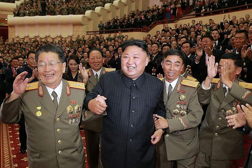 Mr Kim Jong Un at an event to celebrate the success of its nuclear test.