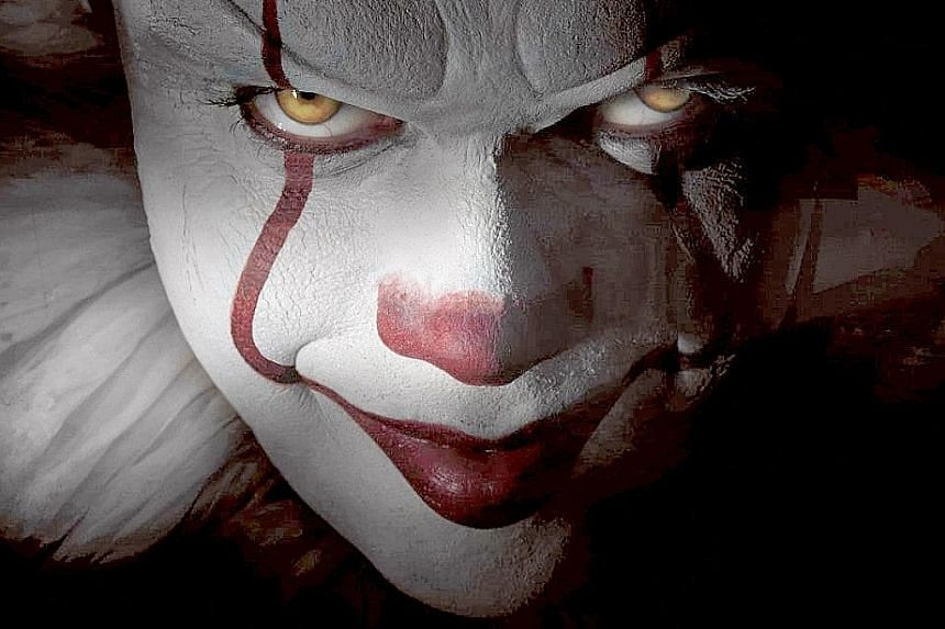 Bill Skarsgard took more than two hours each time to transform into the creepy crown in the movie, It (above).