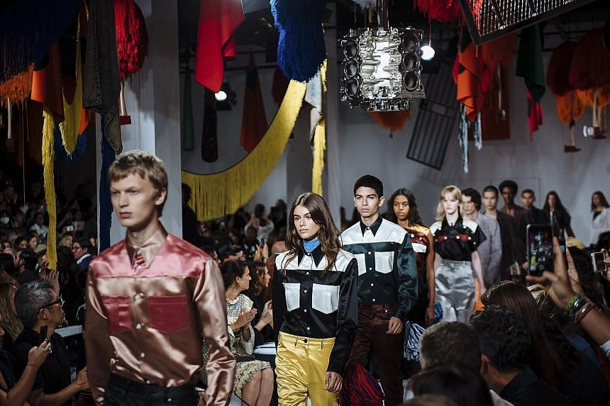 The Calvin Klein collection (above) by Raf Simons at New York Fashion Week.