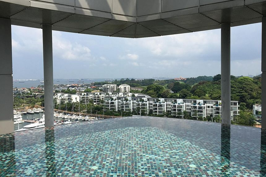 Clockwise from far left: The living room in former pastor Kong Hee's penthouse has a view of the One Degree 15 Marina Club, and an infinity pool; The Oceanfront @ Sentosa Cove where the penthouse is located.