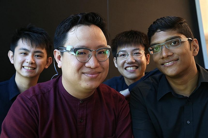 The James Dyson Award for Singapore this year goes to Peri, a device that represents sound in the form of visual cues for deaf people. Four of the seven members of the SUTD team behind the device are (from far left) Mr Daryl Yeo, 24, Mr Andrew Sng, 2