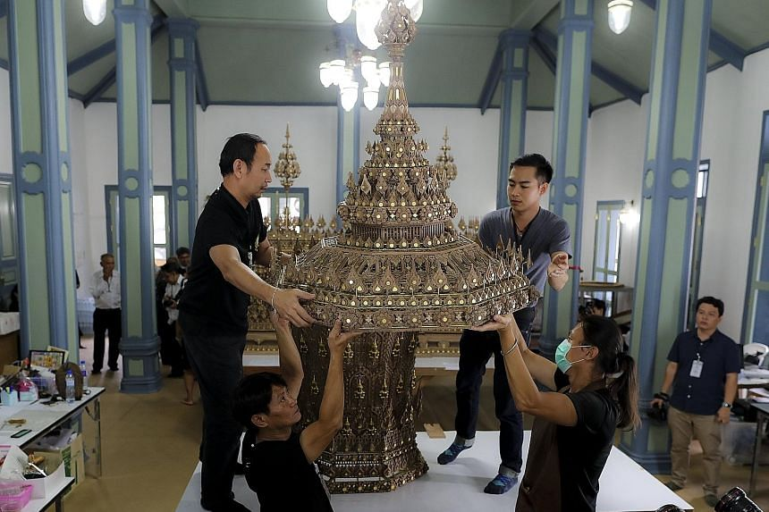 The royal urn is being prepared at the Fine Arts Department in Bangkok.
