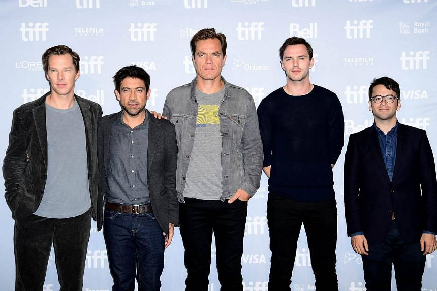 (From left) Actor Benedict Cumberbatch, director Alfonso Gomez-Rejon, Michael Shannon, Nicholas Hoult and executive producer Michael Mitnick attend The Current War press conference during the 2017 Toronto International Film Festival, on Sept 10, 2017