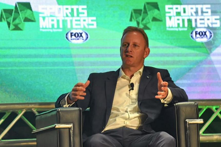 World Rugby CEO Alan Gilpin speaks on the globalisation of rugby as part of the All That Matters conference that covers sport, music, gaming, online and marketing interests in Asia, in Singapore on Sep 11, 2017.