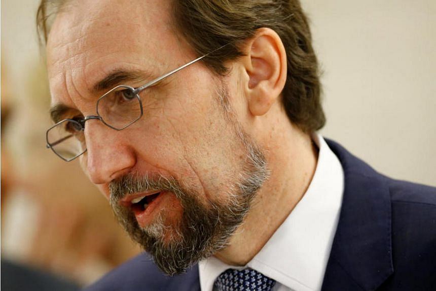 UN High Commissioner for Human Rights Zeid Ra'ad Al Hussein speaks at the 36th Session of the Human Rights Council in Geneva on Sept 11, 2017.