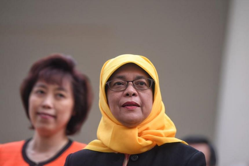 Madam Halimah Yacob leaves the Elections Department at Prinsep Street on Sept 11, 2017.