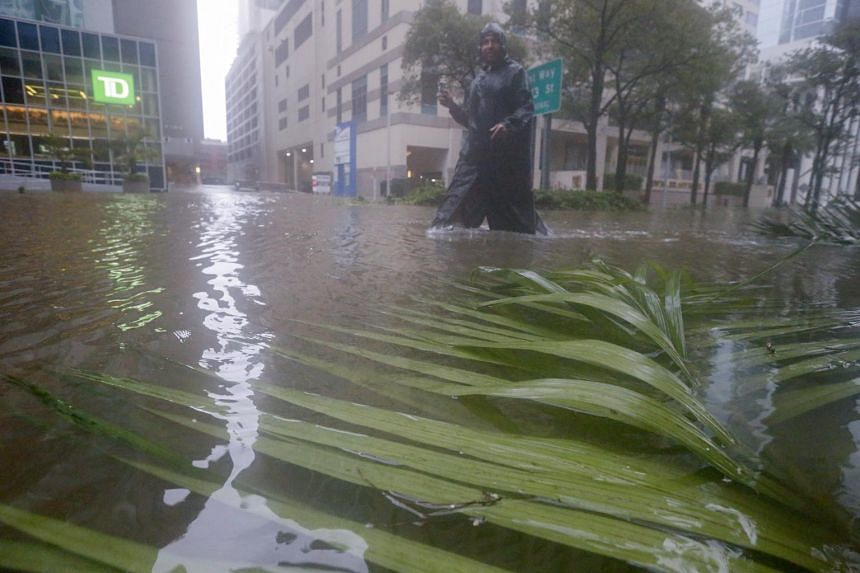 Flood waters along Brickell Avenue after the full effects of Hurricane Irma struck in Miami, Florida, USA, on Sept 10, 2017.
