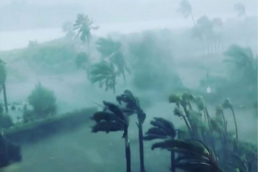 Trees sway in strong winds as Hurricane Irma hits Marco Island, Florida, US, in this Sept 10, 2017 still image taken from a social media video.