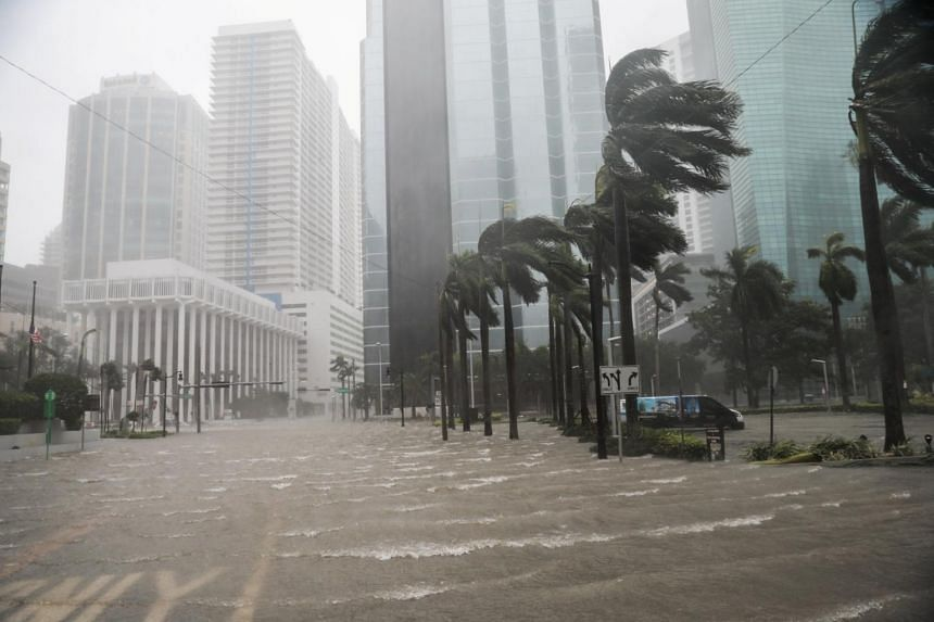 Flooding in the Brickell neighbourhood as Hurricane Irma passes Miami, Florida, US, on Sept 10, 2017.