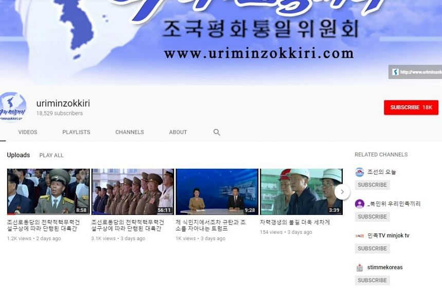Uriminzokkiri regularly posted videos boasting the country's nuclear and missile programmes and others praising North Korean leader Kim Jong Un.