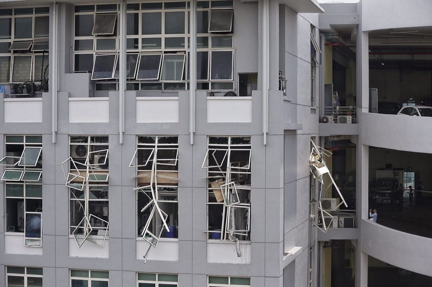 """An industrial incident in a factory building at 20 Bukit Batok Crescent caused the partial collapse of a wall and """"significant damage""""."""