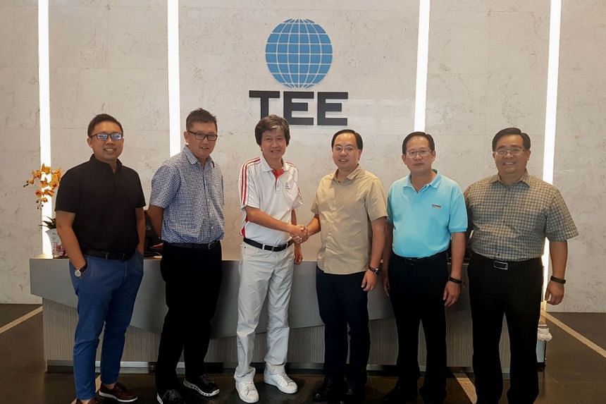 (From left) From TEE International: Mr Edwin Neo, Head of Infrastructure; Mr C.K. Phua, Group Chief Executive and Managing Director; Mr Eric Phua, Deputy Group Managing Director. From Advancer Global: Mr Gary Chin, Chief Executive Officer and Executi