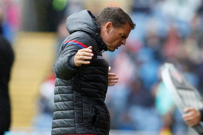 Crystal Palace manager Frank De Boer reacts during the match against Burnley on Sept 10, 2017.