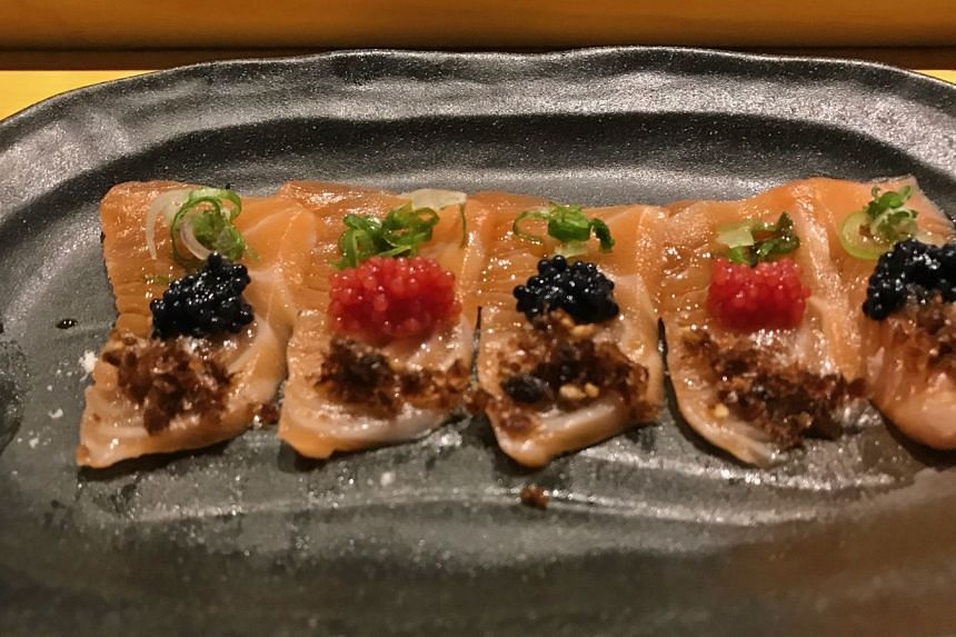 Salmon topped with herring roe.