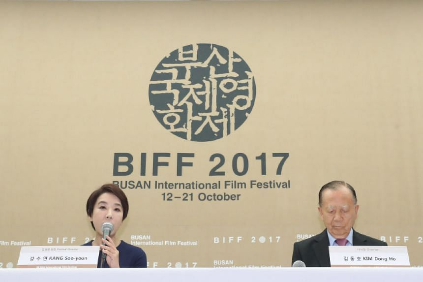 Busan International Film Festival's executive director Kang Soo-youn (left) and chairman Kim Dong-ho speaking to press at the President Hotel in Jung-gu, Seoul, on Sept 11, 2017.